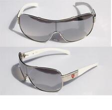 Mens Oversized Sunglasses Khan SHIELD chrome white red cool SHADE 3399