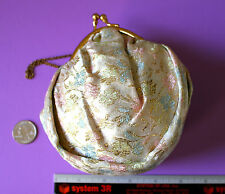 Vintage Purse Prom Formal Gold Pink Blue Green Floral Brocade Wrist Chain EUC