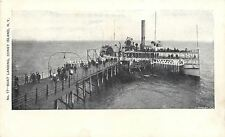 Coney Island New York~Excursion Steamer at Boat Landing Dock~1905 B&W Postcard