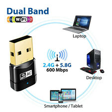 600Mbps Wireless Dual Band USB WiFi Dongle LAN Adapter 802.11ac/a/b/g/n 5/2.4Ghz