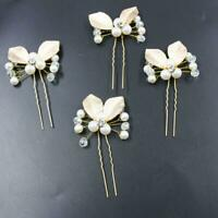 4PC BN Wedding Bridal Flower Rhinestone Crystal Hair Bridesmaid Pins Clips D5L8
