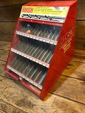 Vintage Hanson Drill Bit Cabinet Metal Sign Hardware Store Cabinet Display Shelf