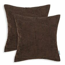 2Pcs Coffee Cushion Covers Pillows Case Corduroy Corn Striped Home Decor 40x40cm