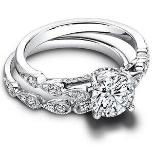 Round Cut 1.30 Ct Diamond Wedding 14K Solid White Gold Women's Band Set Size M N