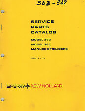 NEW HOLLAND 363 367  MANURE SPREADERS   PARTS MANUAL