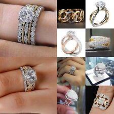 Gorgeous Women 925 Silver Two Tone Rings White Sapphire Wedding Ring Size 6-10