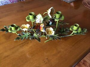 Mid Century Tole Metal 5 Candlestick Holder Yellow Flowers Butterfly Italy Tag