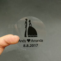 100 Personalised Round Clear Wedding Stickers/Labels Envelopes Seals Heart 5cm