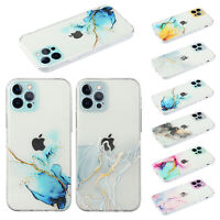 For iPhone 12 Pro Max 11 Xs XR X 8+ 7 12 Mini Clear Marble Shockproof Case Cover