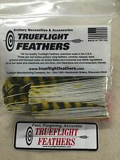 Trueflight 5 inch Feathers Left Wing Parabolic Cut 50 pack Yellow Barred