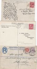 # 1890/1931 3 CARDIFF & BARGOED POSTAL HISTORY REGd COVER PERFIN  SKELETON WALES