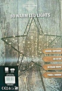 Metall - Stern schwarz 38cm 80 LEDS Timer  außen warmweiß Draht Strom Sterne