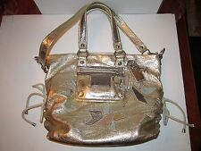 COACH HANDBAG - GOLD, SILVER & COPPER METALLIC LEATHER BAG - LARGE WITH DUSTBAG