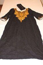 African Dashiki Clothing- Dress- Black- Gold- Embroidering- Sleeves- Wrap