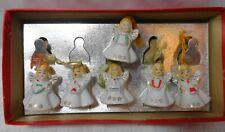 Vtg 6 Miniature Christmas Angel Bells Musical Japan Ornaments Bone China