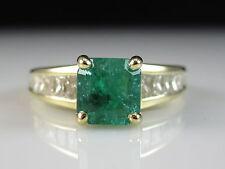 18K Emerald Diamond Ring Yellow Gold G/VS1 Radiant Fine Jewelry Estate $5250