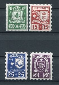 ESTONIA 1937 COAT OF ARMS CHARITY ISSUE SCOTT B32-B35 PERFECT MNH