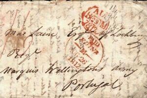 GB PENINSULAR WAR Letter Edinburgh 1812 Cover BLACK WATCH Military PORTUGAL H23a