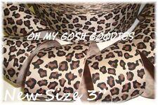 "3"" Brown Leopard Animal Print Grosgrain Ribbon Safari Cheer Tic Toc Hairbow Bow"