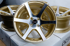 15x8 Wheels Spark Escort Accord Civic Fit Accent Spectra Miata Gold Rims 4x100