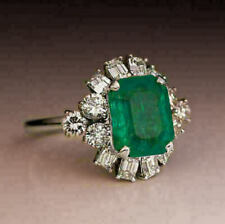 3Ct Green Emerald & Diamond Halo Engagement Ring 14K White Gold Finish