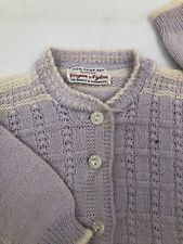 Vtg Purple Infant Doll Sweater Cardigan Knitted 100% DuPont Nylon 1960's-1970's