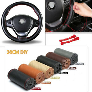 Mix Color 38cm Genuine Leather DIY Car Steering Wheel Cover With Needles Thread