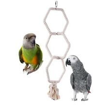 HEXAGONAL TRIPLE COTTON ROPE BIRD PARROT TOY SWING PERCH CAGE TOY GREY AMAZON