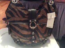 Kathy Van Zeeland Handbag Zebra Print Bronze Marquee Shopper Brown and Black