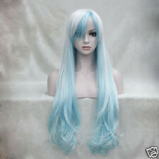 "Fashion White And Light blue Mix Anime Cosplay Costume 32"" Long Wavy Wig"