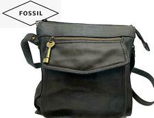Fossil Black Leather Shoulder Bag Handbag Organizer Tote with Key Purse Strap