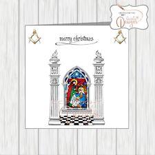 Masonic Christmas Card Masons Xmas Two Pillars Nativity Stained Glass Window