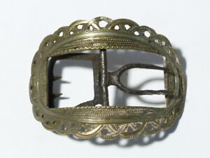 Antique Georgian Silvered Brass Ornate Pierced Design Shoe Buckle #B2