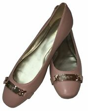 New COACH Bianca Leather Ballet Flats Shoes Nude Beige Warm Blush $195 Size 8.5
