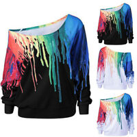 Women Long Sleeve Loose Blouse Rainbow print Casual Top T shirt Sweater Pullover