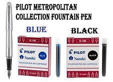 Pilot Metropolitan Collection Fountain Pen, Silver Barrel, Classic Medium
