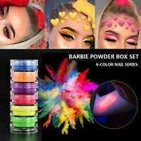 6 Color Shimmer Eyeshadow Matte Neon Powder Lasting Luminous Pigment Nail Powder