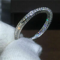 3 Ct Round Cut Diamond Women's Eternity Wedding Band Ring 14K White Gold Over