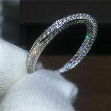 3 Ct Round Cut Diamond Women's Eternity Wedding Band Ring 14K White Gold Over