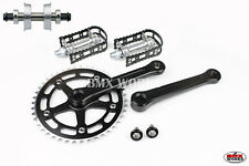 ProMX BMX 3 Piece Aluminium Cranks Set Black & MKS BM-7 Pedals & Bottom Bracket