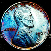 "1937 P Lincoln Wheat Penny Cent- ""Beautiful Toning"" SUPERB GEM HIGH GRADE #00"