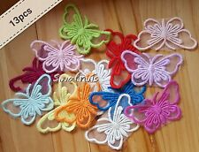 13pcs Embroidered Organza Lace BUTTERFLY Applique Motif Patch - mixed colours
