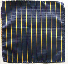 Hankie Pocket Square Handkerchief MENS Hanky NAVY BLUE YELLOW STRIPED