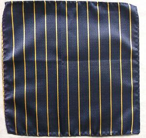 Hankie Pocket Square Handkerchief MENS Hanky NAVY BLUE YELLOW STRIPED