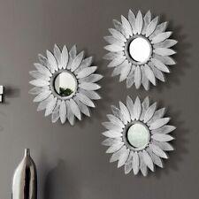 3x Specchi Rotondi da Parete Cornicie Specchio Forma Fiore 25cm Design Moderno