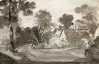 COTTAGE & CHURCH IN LANDSCAPE Antique Watercolour Painting c1835 - 19TH CENTURY