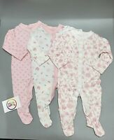 NEW Baby girls 3 pack floral cotton sleepsuits rompers babygrows 0 - 24 months