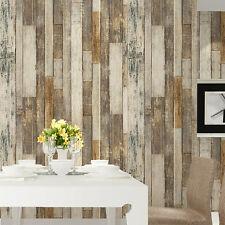 Vintage Wood Wallpaper Rolls Tan/Beige/Brown Wooden Plank Murals Home Kitchen