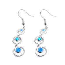 Fashion Jewelry 925 Silver Blue Fire Opal Three Round Pendant Stud Earrings