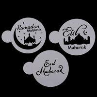 3pcs Eid Mubarak Cookies Stencil Ramadan Muslim Coffee Cake Template MoldHCfw